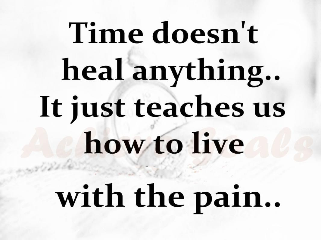 Time doesn't heal anything, it just teaches us how to live with the pain. Picture Quote #2