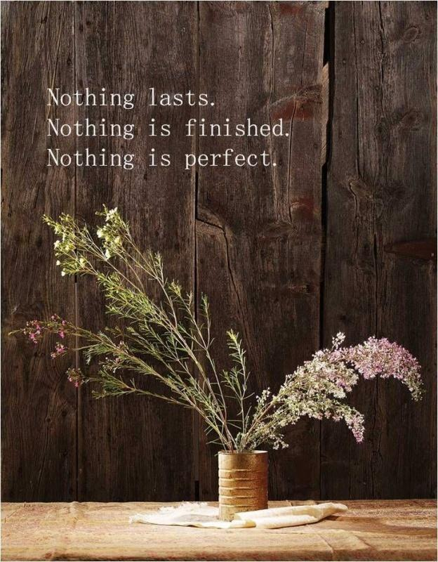 Nothing lasts. Nothing is finished. Nothing is perfect. Picture Quote #1