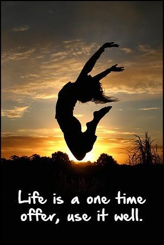 Life is a one time offer, use it well. Picture Quote #1