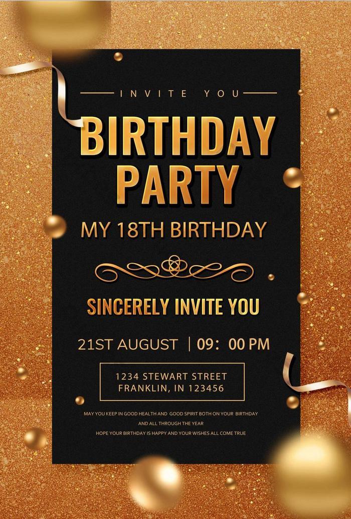 golden luxury birthday party invitation