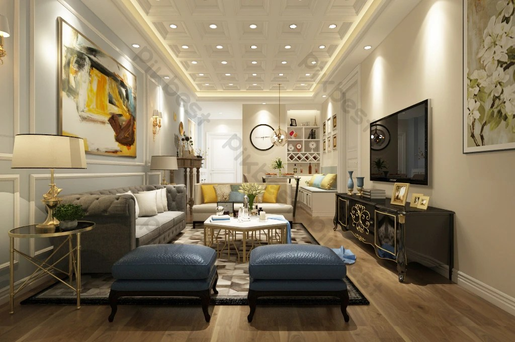 modern and simple american living room