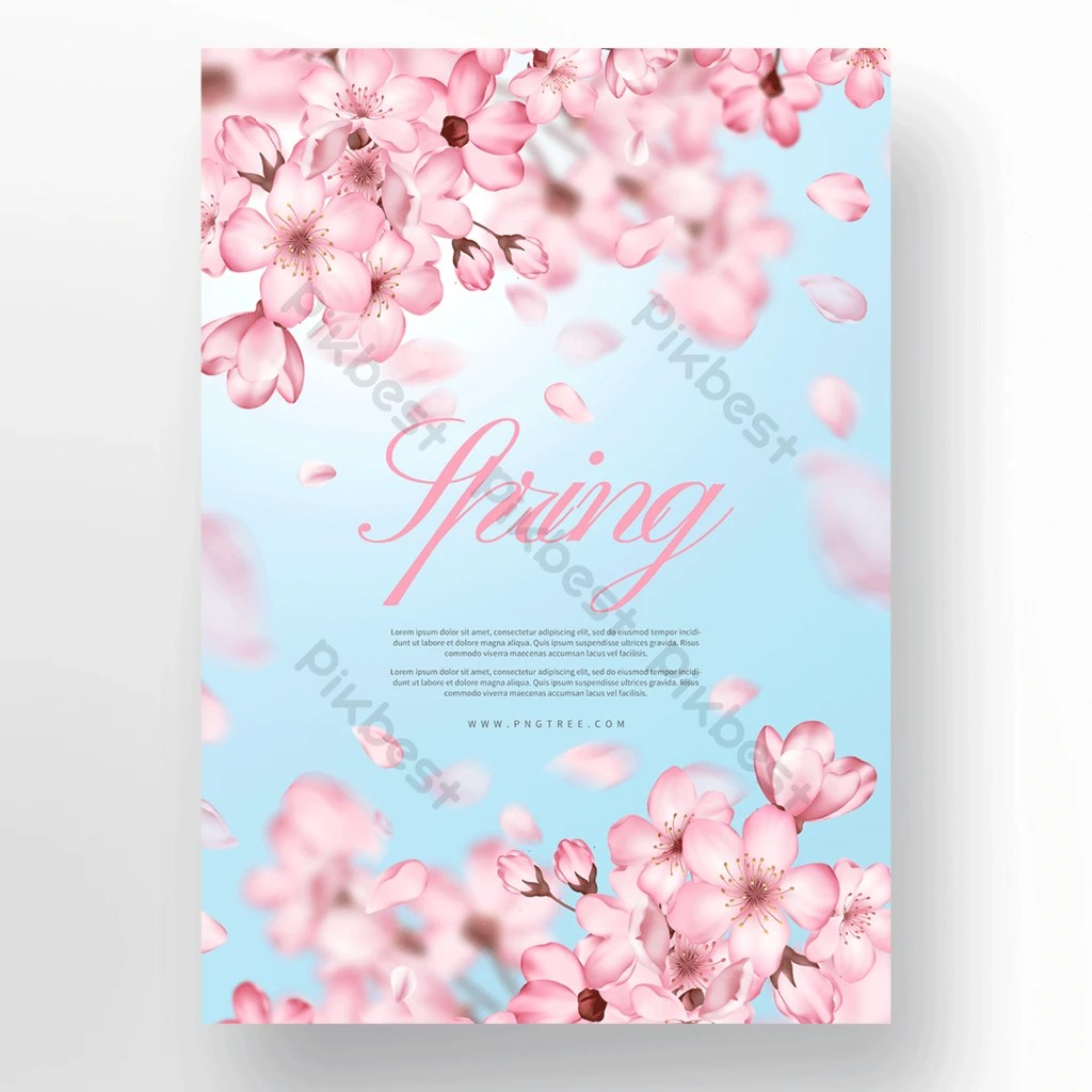 spring pink blue cherry blossom poster