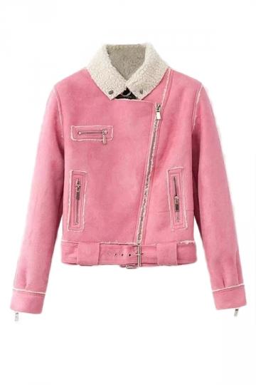Pink Womens Lambs Wool Suede Diagonal Zipper Motorcycle Jacket PINK QUEEN