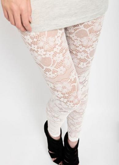 Womens White Flowers Lace Leggings Lace Leggings For Girls