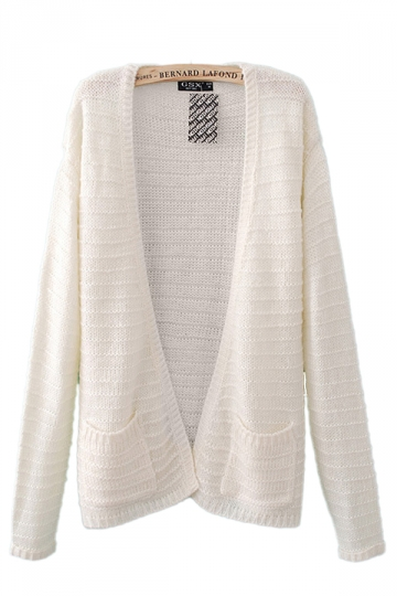 No Button Double Pocket Beige White Cardigans Womens Cardigan