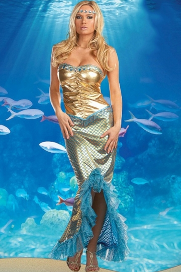 Gold Halloween Sexy Womens Mermaid Fancy Sea Queen Costume PINK QUEEN