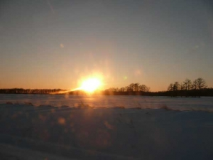 北の大地に日が沈む