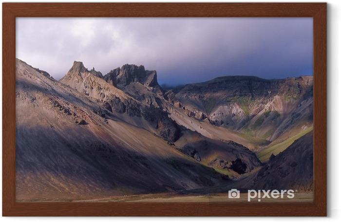 rocky slopes of oraefajokull volcano iceland framed poster