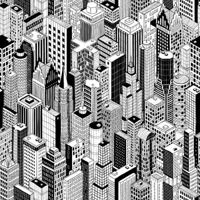 rideau occultant gratte ciel ville motif continu grand est dessin la main de plusieurs batiments de grande hauteur comme manhattan en perspective