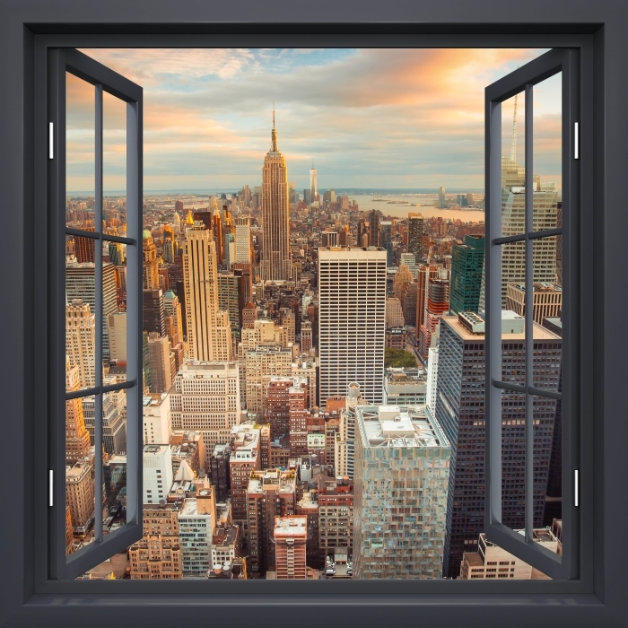 Black Open Window View Of The Sunset In New York Poster Pixers We Live To Change