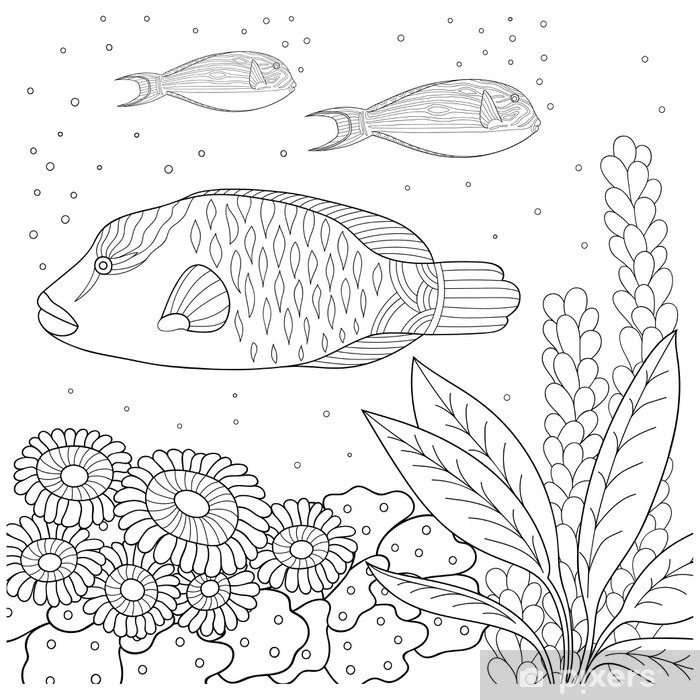https fr pixers ch stickers pour vitres et fenetres motif doodle en noir et blanc motif marine pour livre de coloriage mer poissons algues bulles livre de coloriage pour les enfants et les adultes 127929281