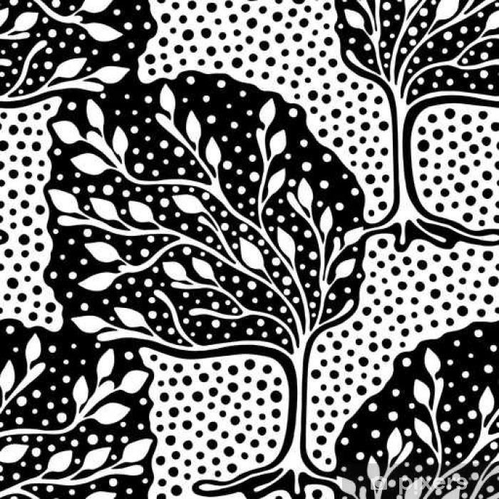 rideau occultant seamless vecteur dessine a la main repeter illustration decoration d ornement arbres sans fin stylisees astract noir et blanc seamles illustration graphique artistique silhouette de dessin de ligne pixers