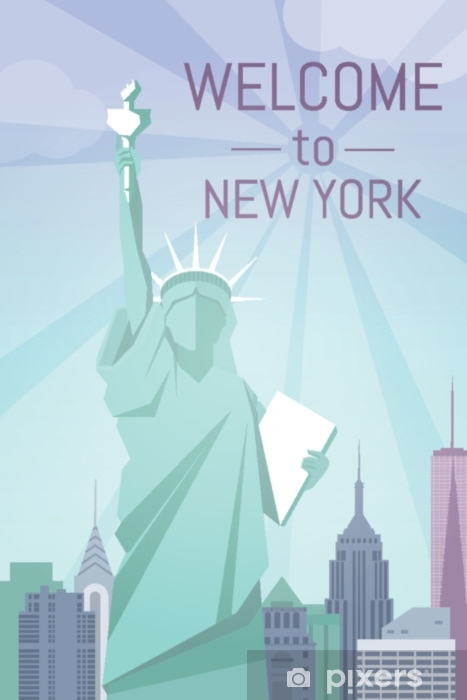 Welcome To New York Poster Flat Design Sticker Pixers We Live To Change