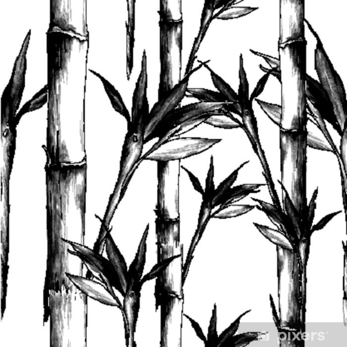 rideau occultant feuilles branches tige motif de bambou fleurs texture cadre croquis sans soudure vecteur graphiques dessin noir et blanc monochrome