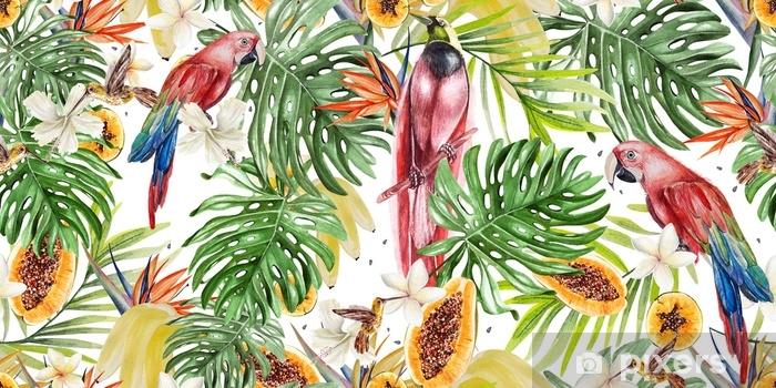 rideau occultant magnifique motif tropical aquarelle avec des perroquets et des fleurs d hibiscus et de strelitzia fruits tropicaux papaye et bananes pixers nous vivons pour changer