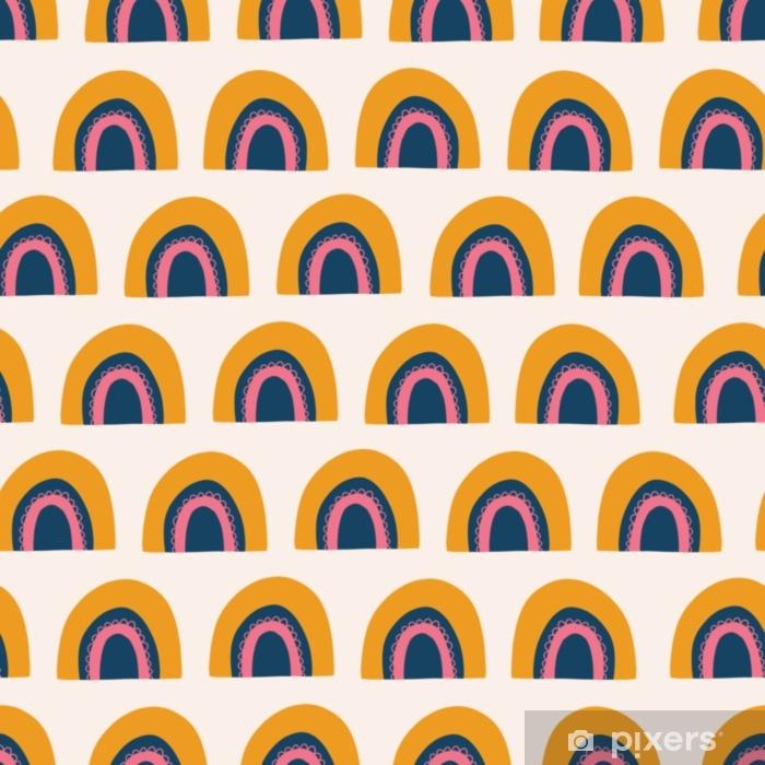 rideau occultant modele vectorielle continue abstrait arc en ciel rainbows dessines a la main mignonne orange rose et bleu sur fond blanc style