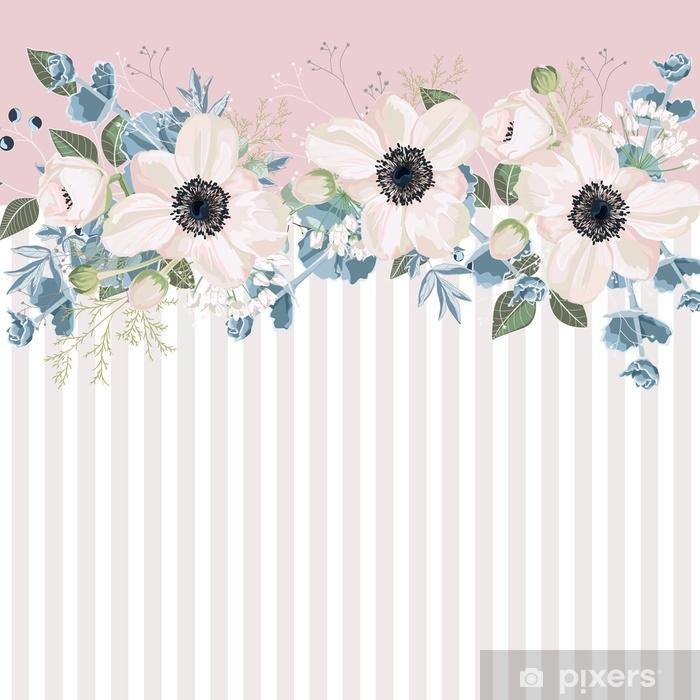 rideau occultant rayures horizontales avec anemones blanches feuilles bourgeon et herbes cadre mignon de conception florale de mariage element de bande de banniere fond tendre clair pixers nous vivons pour changer
