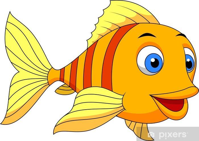Cute Fish Cartoon Wall Mural • Pixers®