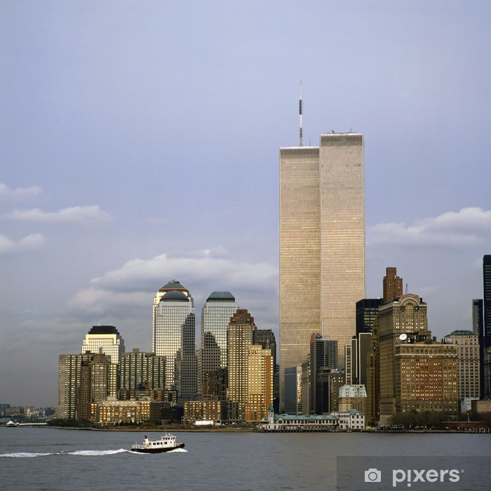 poster nyc skyline mit twin towers pixers wir leben um zu verandern