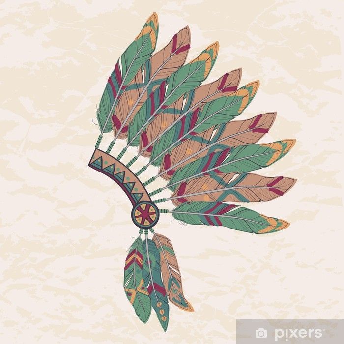 Vector Illustration Of Native American Indian Chief Headdress Wall Mural Pixers We Live To Change