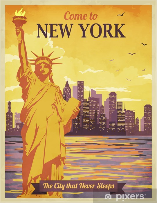 Travel To New York Poster Vintage Sticker Pixers We Live To Change