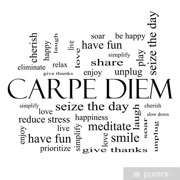 Carpe Diem Word Cloud Concept in black and white Wall Mural • Pixers® • We  live to change