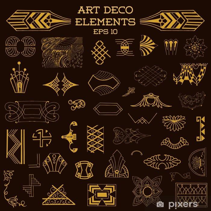 art deco vintage frames and design elements hand drawn sticker pixers we live to change