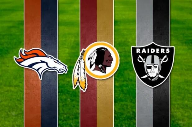 Los Broncos de Denver (L o 50, XXXIII, XXXII), los Pielesrojas de Washington (XXVI, XXII, XVII) y los Ginetes de Oakland (XVIII, XV, XI) llegan al cuarto puesto con 3 victorias respectivamente. Los Broncos son el segundo equipo más exitoso en los últimos 20 años, solo superados por los Patriots, a su vez, los Redskins tienen 26 años sin ganar y los Raiders no lo ganan desde el 84 cuando todavía eran Los Ángeles Raiders.