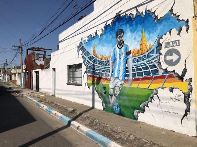 Un muro del barrio de origen de Messi homenajea al astro con motivo de su paso por Rusia 2018