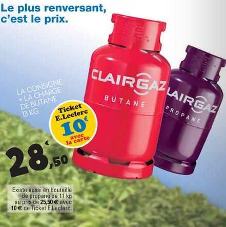 Leclerc Bouteille De Gaz Clairgaz Consigne A 28 50 Avec 10 Sur La Carte De Fidelite