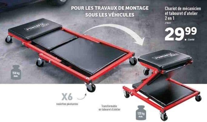 Lidl Chariot De Mecanicien Et Tabouret D Atelier 2en1 Powerfix A 29 99