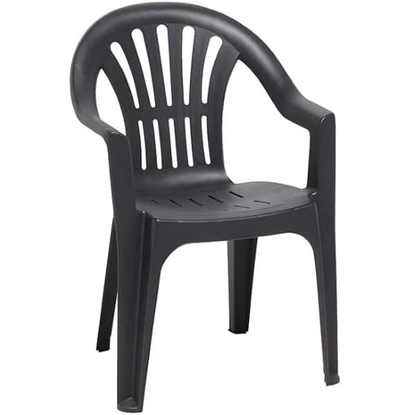 fauteuil de jardin gris anthracite pas