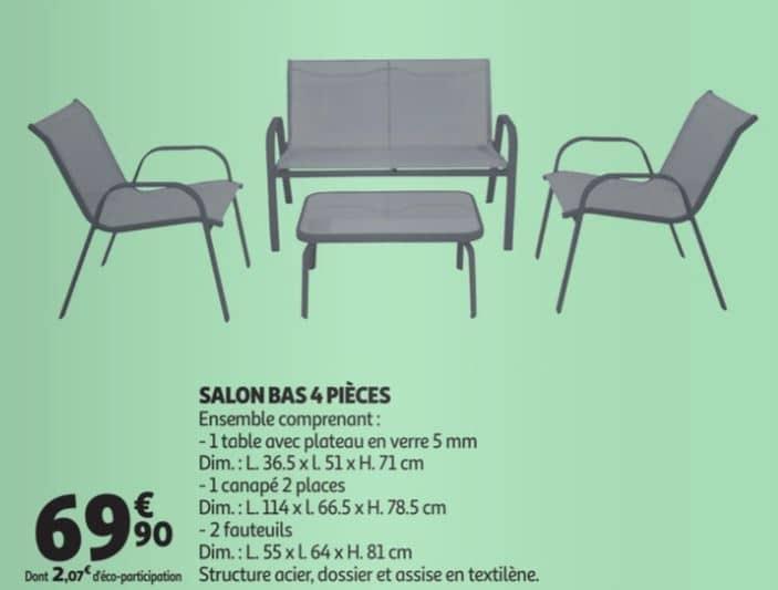 Auchan Salon Bas 4 Pieces Avec 1 Table 1 Canape Et 2 Fauteuils A 69 90
