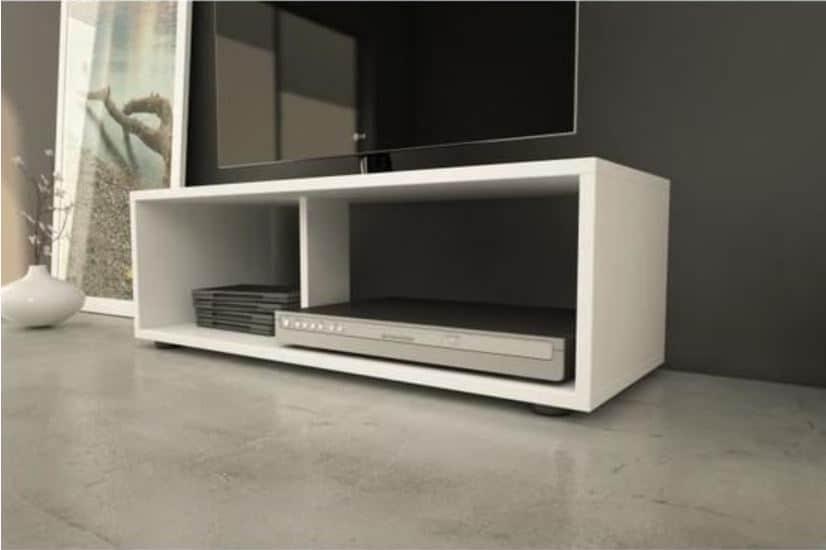 boom meuble tv contemporain blanc mat l