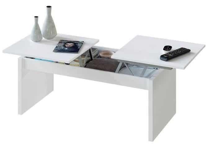 table basse relevable 2 plateaux blanc