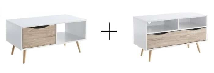 cdiscount pack table basse meuble