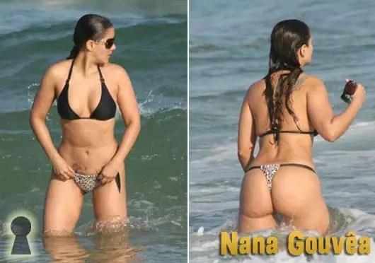 Nana Gouvêa de Biquini na Praia