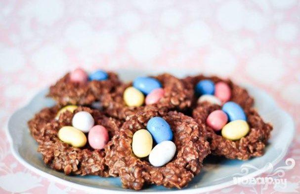 """Шоколадное печенье """"Гнезда"""" - пошаговый рецепт с фото"""