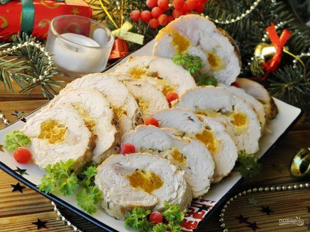 novogodnii rulet iz indeiki 351443 - New year's Turkey meatloaf