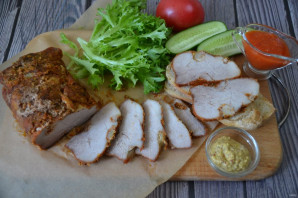 Pork skinke bakt i ovnen i folie - Foto trinn 9