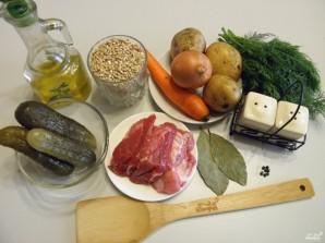 泡菜与大麦和咸黄瓜 - 照片步骤1