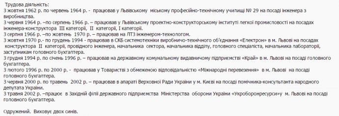 Скріншот із офіційної біографії Ярослава Пелешака