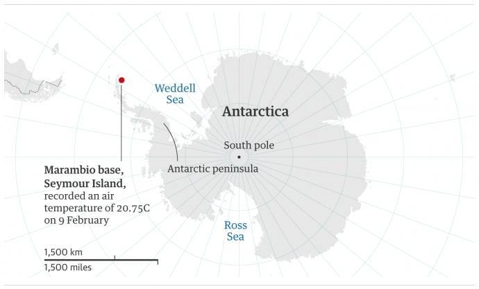 Температурний рекорд: в Антарктиці температура перевищила 20 градусів
