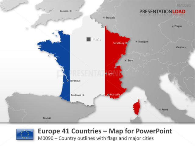 PowerPoint Map Europe  41 Countries  with Flags   PresentationLoad Europe   41 countries with flags