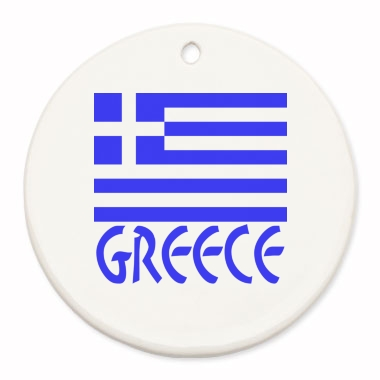 Image of round keepsake or Christmas ornament with the Greek Flag and the word Greece.