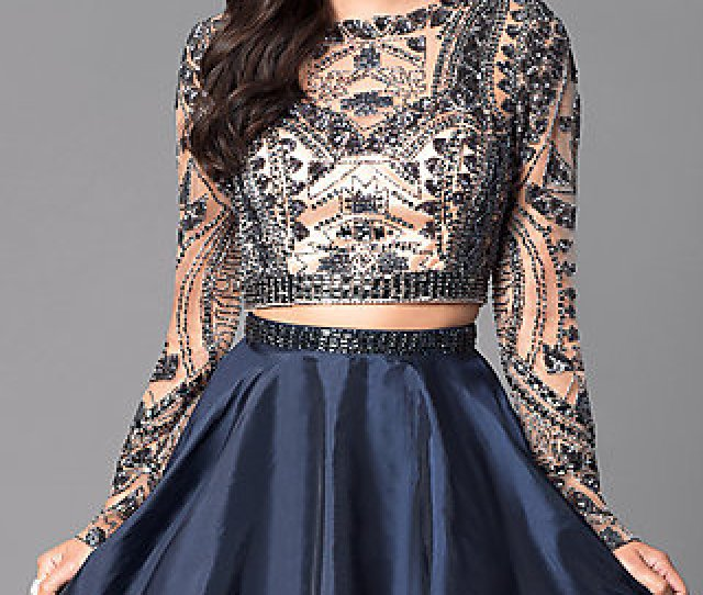 Two Piece Short Open Back Homecoming Dress