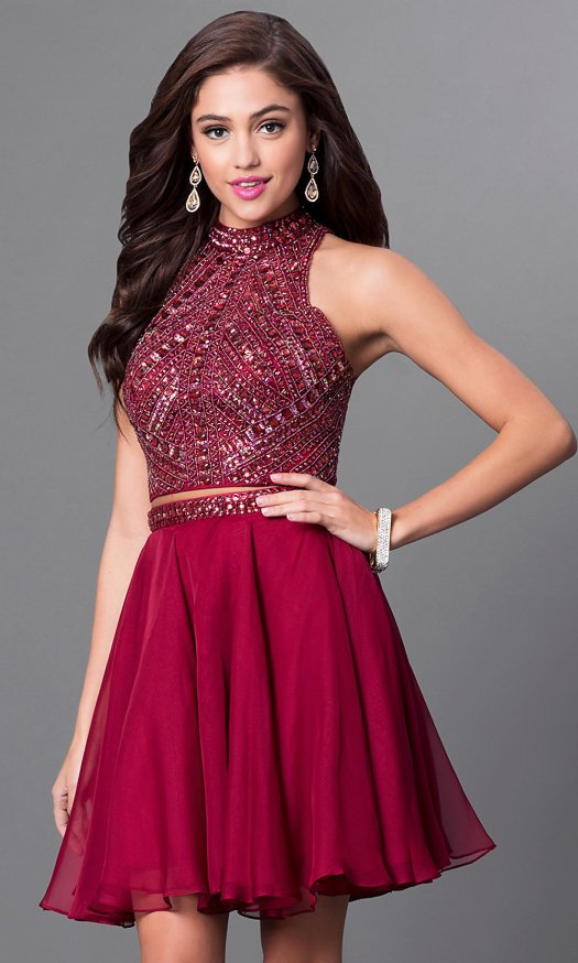 Burgundy Red Homecoming Two-Piece Dress - PromGirl
