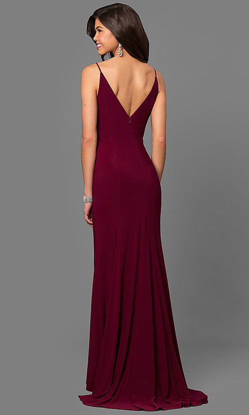 Jersey Wine Red Junior Size Long Prom Dress PromGirl