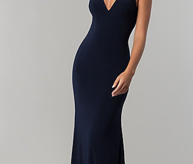 Long Navy Blue V Neck Prom Dress With Back Cut Outs