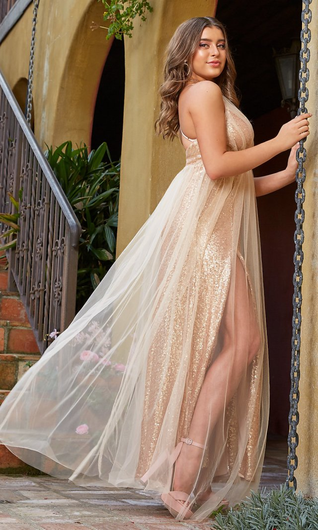 champagne rose gold prom dress by kalani hilliker